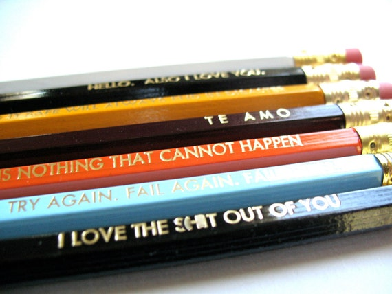 36 PENCILS - Your selection of 36 colorful GRAPHITE HEX pencils w/ 3 hand-stamped kraft pencil boxes - back to school
