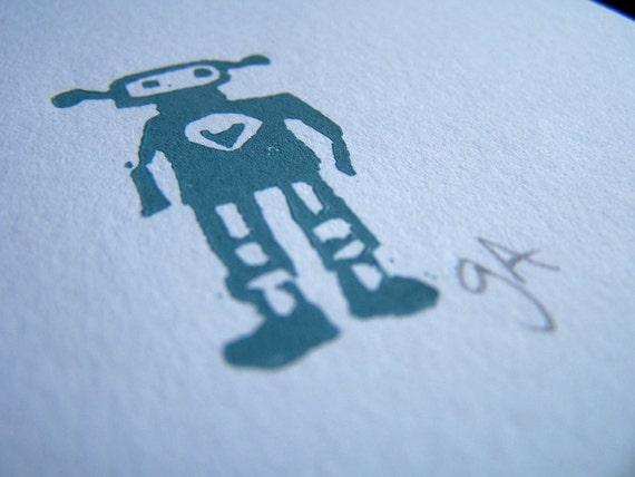 CARD - grey robot in love LINOCUT 5x7 - mini print