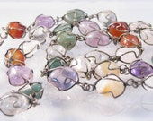 Silver wire wrapped semi precious gem stones long necklace Mexican
