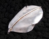 Silver hand etched large feather brooch