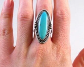 Silver and long oval turquoise ring size 6.5