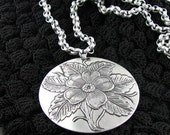 40s aluminum floral pendant hard to find necklace