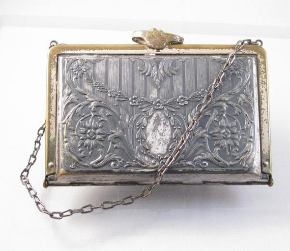 1920s silver and brass floral repoussee evening wallet purse