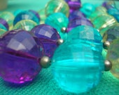 1950s Vintage Giant Purple, Light Yellow-Green and Turquoise Crystal Bead 3-Tier Necklace