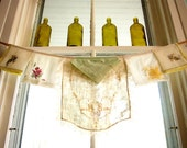 Kitchen Curtain, one of a kind window valance, vintage napkins and embroidered linens, Antique Pastel