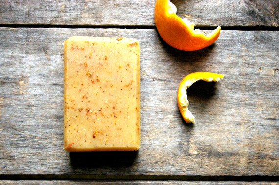 Handmade Cold Process Soap, small bar, orange chamomile almond, organic ingredients, lightly scented