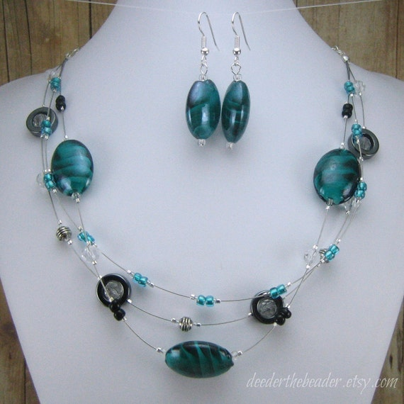Necklace & Earring Set - Teal and Gunmetal 3-Strand