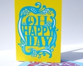 Happy Birthday Card. Oh Happy Day. Yellow Blue. Congratulations Card. New Job Card. Graduation Card. Pregnancy Announcement. Greeting Card.