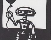 Robot- Original paper cut out ACEO
