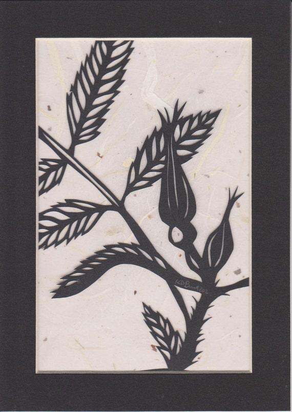 "Original 5""x7"" paper cut out- flower"