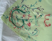 Hand Painted Green Cotton Altarcloth or Scarf