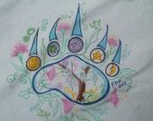 Bear Paw Print Pillowcase