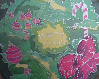 One of a Kind Yule Wreath - - Silk Painting