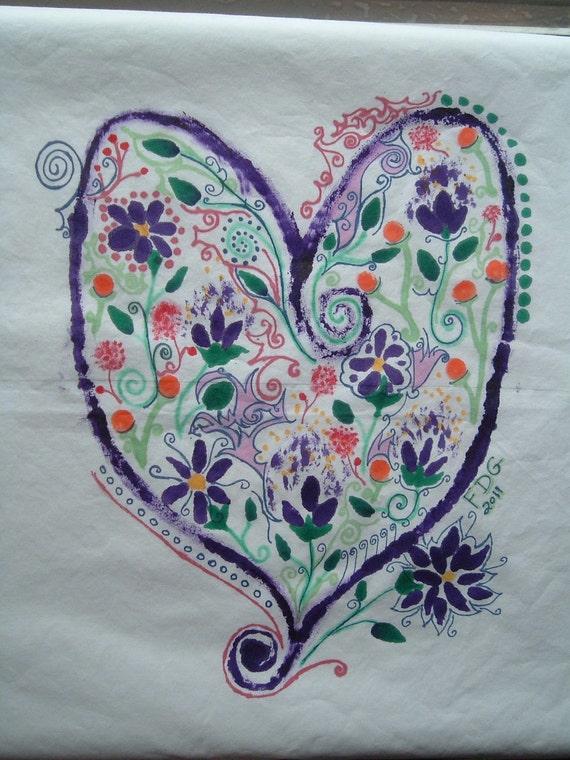 Whirly Girly Heart Pillowcase Hand-Painted Folk Art