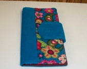 Shop Closing Feb 15 Clearance -  was 32 - Turquoise Pink Floral Corduroy Long 8-pocket Bi-fold Wallet Clutch