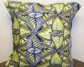 Designer Fabric Decorative Pillow Cover 16X16 in Jane Sassaman Periwinkle Design - Removeable Pillow Case