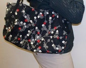 Shop Closing Feb 15 Clearance - 50% Discount - Large Pleated Hobo Tote Market Bag Handbag in Michael Miller Zen Blossoms Fabric Black