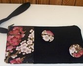 Sale was 25 - Zippered Wristlet Clutch holds Camera Iphone Ipod from Asian Cherry Blossom Fabric