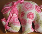 Lovely and sweet Pale pink and dark pink floral Stuffed Baby Elephant with removable ribbon collar and hand-tied bells