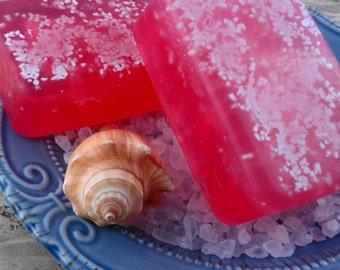 Raspberry Sea Salt Soap - Glycerin Soap - Handmade Soap - Sea Salt Soap - Raspberry Scented Soap - Artisan Soap -  SoapGarden