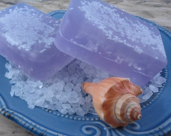 Lavender Sea Salt  Soap -  Glycerin Soap - Handmade Soap - Dead Sea Salts - Lavender Soap - Artisan Soap - Spa Soap - Summer Soap