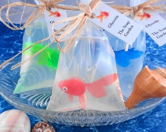 Soap - Goldfish in a Bag  Soap - Glycerin Soap - Handmade Soap - Party Favors - SoapGarden - Reserved for Annie