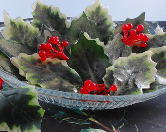 Soap - Individual Holly Leaf Soaps - Glycerin Soaps - Holiday Soap - Guest Soap - Christmas Soap - SoapGarden