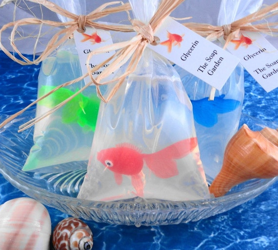 Soap - Goldfish in a Bag  Soap - Glycerin Soap - Handmade Soap - Party Favors - SoapGarden