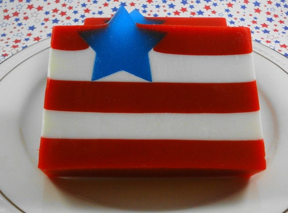 Soap - Hooray for the Red, White and Blue Soap - Glycerin Soap - Summer Soap - Celebration Soap - 4th. of July Soap - SoapGarden