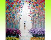 INTRO PRICE GYS ART Original Oil Painting LOVERS RAIN PARK