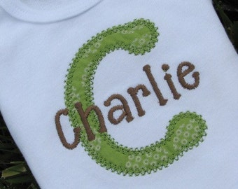 Personalized Initial Applique Shirt or Onesie