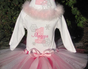 Winter Wonderland Birthday Outfit.  Includes matching tutu, shirt, bloomers, and birthday hat