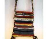 BOHEMIAN OOAK HAND KNITTED STRIPED LONG HANDLED HIPPIE BAG/PURSE