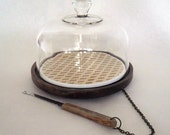 VINTAGE GLASS CLOCHE COVERED CHEESE TRAY WITH DETACHABLE CUTTING KNIFE
