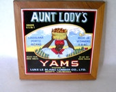 Vintage 70's Aunt Lody's Yams Ceramic Tile Wall Hanging/Trivet/ Hot Pad Crate Label Design