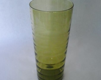 Vintage 60'S Extra Tall Ribbed Hand Blown Olive Green Vase From Italy