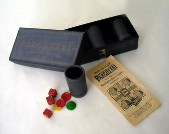 VINTAGE ANTIQUE CIRCA. 1938 PARCHEESI BOX GAME PIECES - INCLUDING BOOKLET -