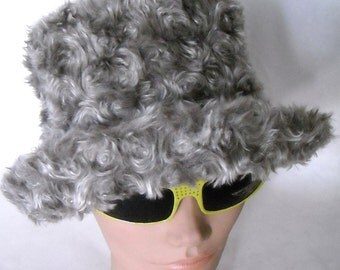 vintage 1960's Rare swirly fur flamboyant hollywood movie top hat shaped brimmed hat