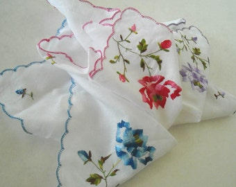 VINTAGE SET OF 3 BAAR and BEARDS EMBROIDERED -NEVER USED- COTTON HANKIES