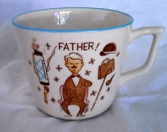 VINTAGE LARGE CERAMIC 50'S - 60'S FATHER'S COFFEE MUG/CUP FOR FATHER'S DAY