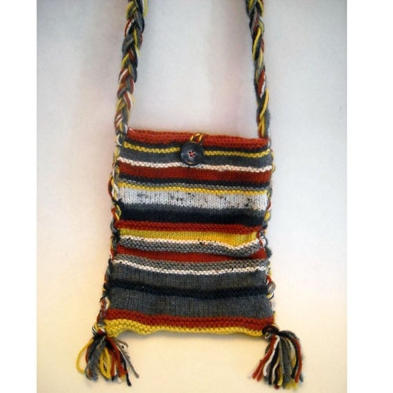 BOHEMIAN OOAK HAND KNITTED STRIPED LONG HANDLED HIPPIE BAG/PURSE