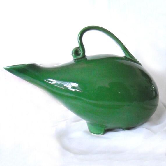 Vintage Italian Ceramic Stoneware Green Grecian/Gypsy Style Pitcher/Urn