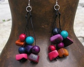 Eco-Friendly Tagua Earrings - Multicolored Dangles