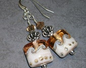 Topaz/Cream Artisan Lampwork Bead Earrings-- Designs By Camaya--  Earring Collection