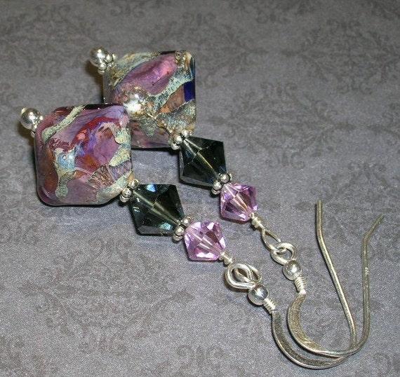 Purple/Gray Artisan Lampwork Bead Earrings-- Designs By Camaya-- Earring Collection
