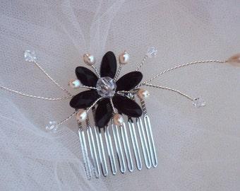 Bridal Comb BLACK LILY-Black onyx,swarovski crystal,fresh water pearl,Wedding,blacktie wedding,formal,bridal,