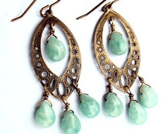 Amazonite gemstone brass chandelier earrings MOUNTAIN RAIN-Green earrings,dangle earrings,boho earrings,brass earrings, Get 50% Off Now!