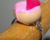 SALE pink frosted heart donut ring (adjustable) SALE - raising brain cancer awareness