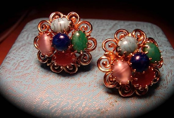 AVANT SWING Vintage 40s DEADSTOCK Earrings with semi Precious stones -on sale