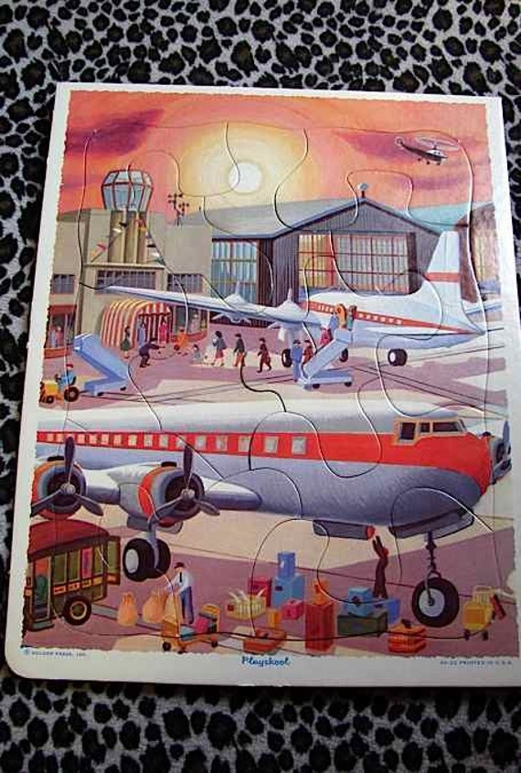 DEADSTOCK Vintage 50s PlaySkool Puzzle AIRPLANES Great Graphics -on sale